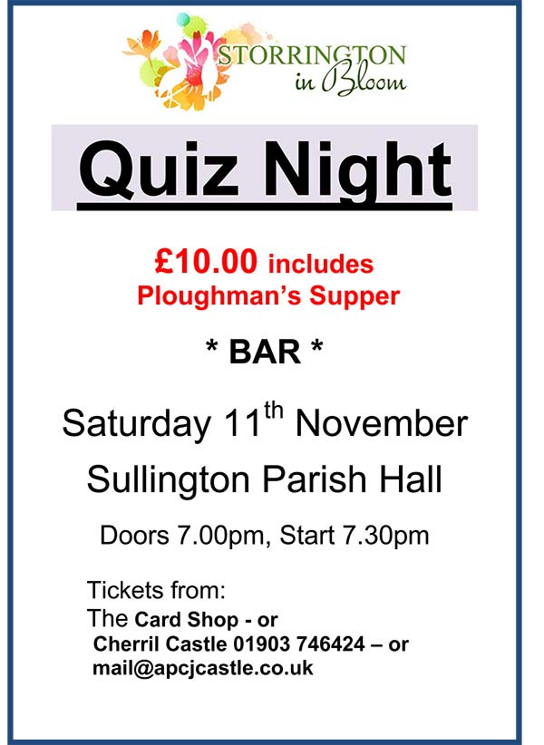 Quiz in aid of Storrington In Bloom @ The Parish Hall | Storrington | United Kingdom