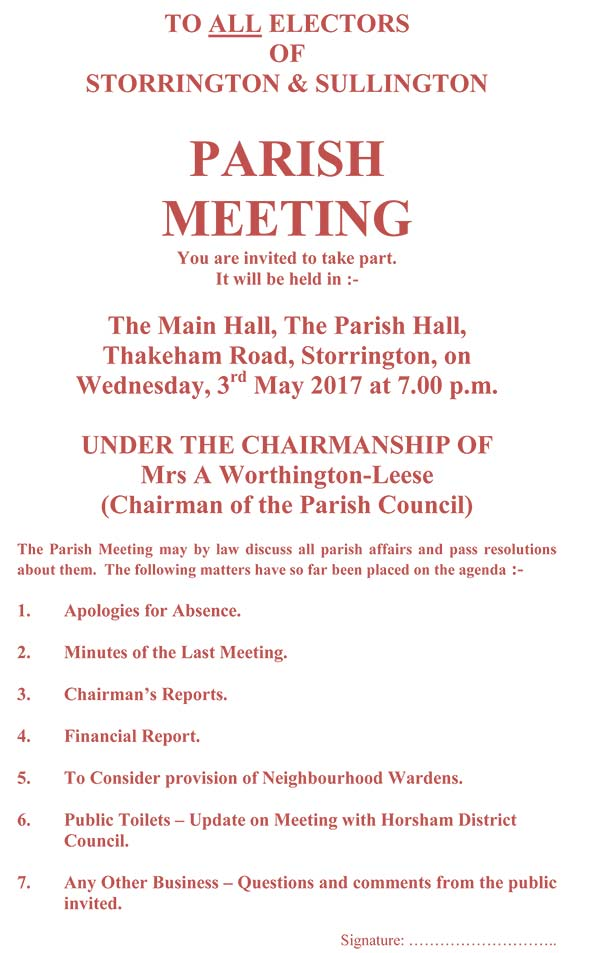 Parish Meeting @ The Main Hall | Storrington | England | United Kingdom