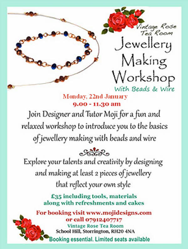 Jewellery Making Workshop @ Vintage Rose Tea Room | Storrington | England | United Kingdom