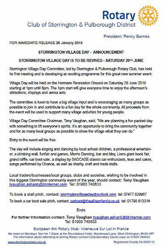 Rotary Flyer on Storrington Village Day