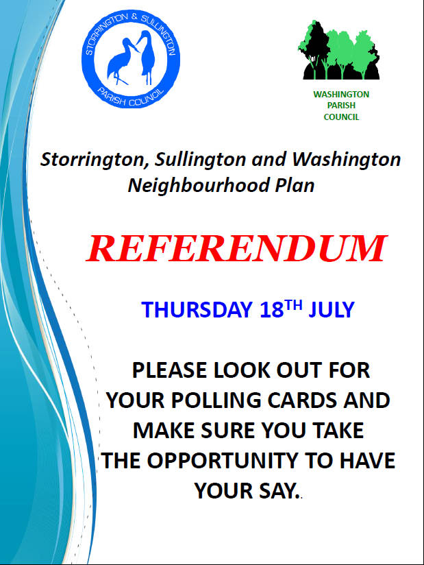 Neighbourhood Plan Referendum @ Storrington Leisure Centre, Sullington Parish Hall, Washington Memorial Hall