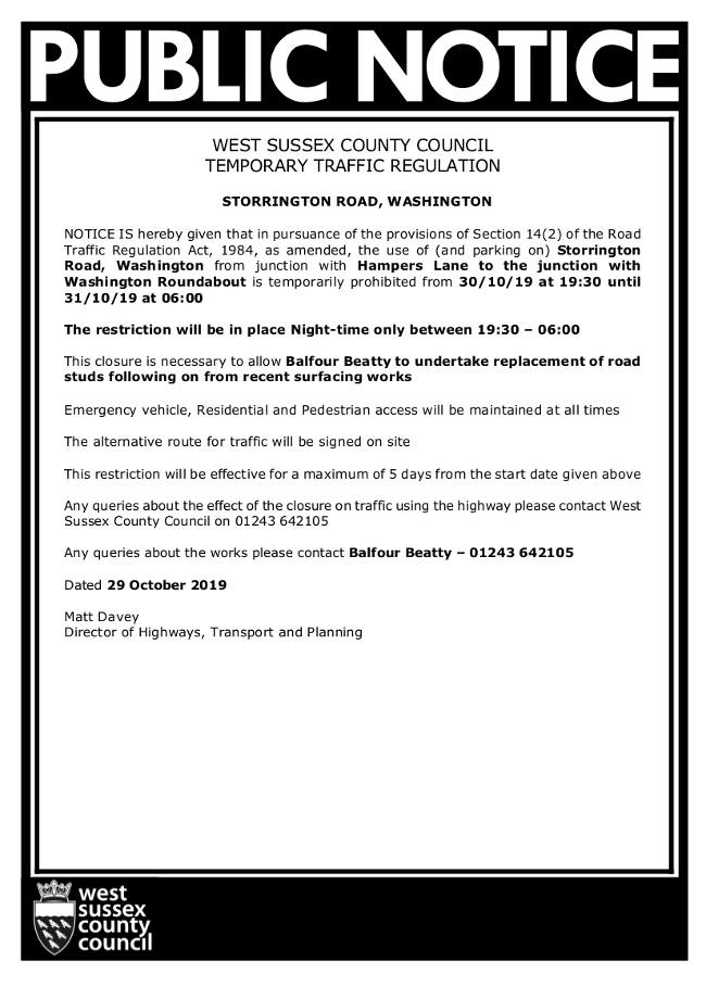 Road Closure 30/10/2019