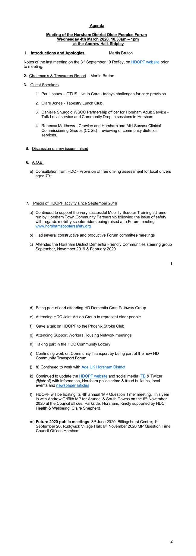 HDOPF agenda 4 March 2020