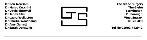 Glebe Surgery letterhead