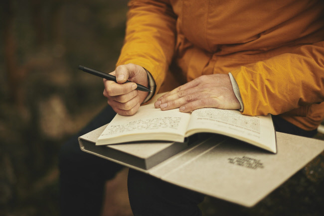 Person writing a diary