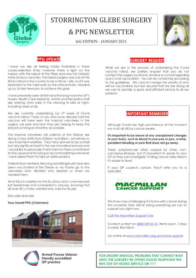 Glebe PPG January 2021 Newsletter p1