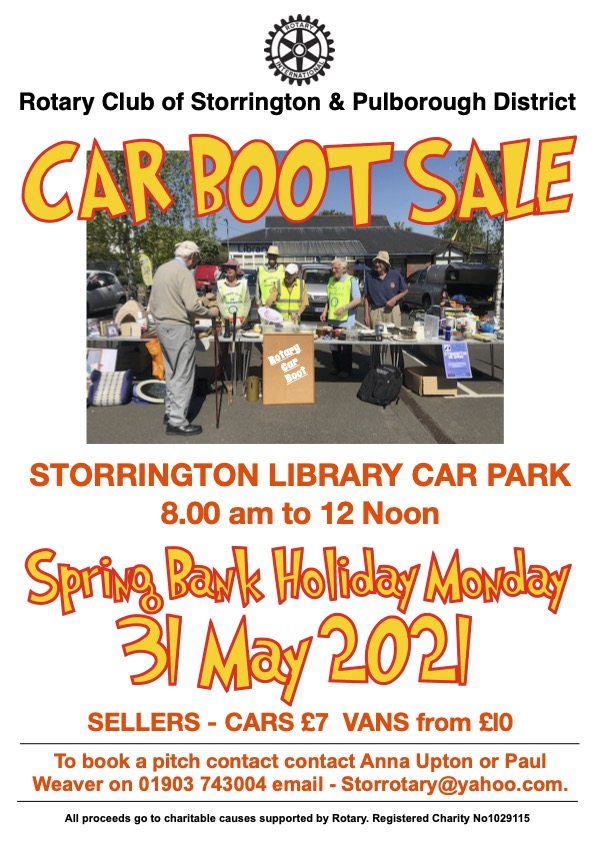 ROTARY SPRING BANK HOLIDAY CAR BOOT SALE @ Storrington Library Car Park | Storrington | England | United Kingdom